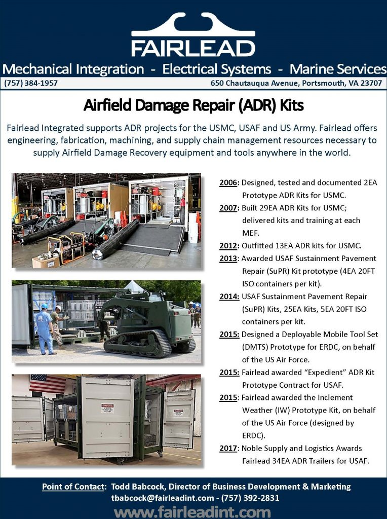 Fairlead Integrated was awarded the Sustainment Pavement Repair (SuPR) Kits contract by Graybar, on behalf of the United States Air Force.